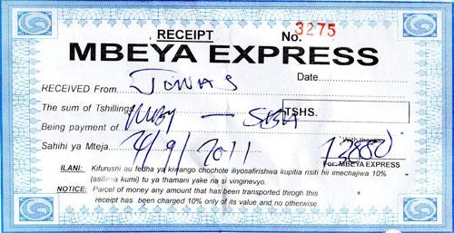 Billet Mbeya express