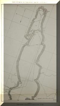 Carte des stations de récoltes de l'expédition de Max Poll au lac Tanganyika dans sa partie nord