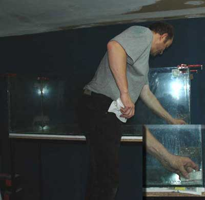 Lissage des joints de silicone | finition d'aquarium .