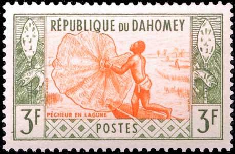 Pêche à l'épervier au Benin (Dahomey).