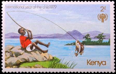 Pêche à la ligne au Khenya.