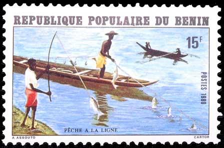 Pêche à la ligne au Bénin.